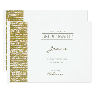 GOLD FREEHAND BRUSH STROKE PATTERN Bridesmaid Card