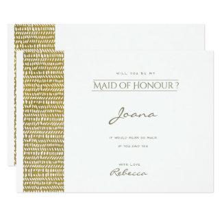 GOLD FREEHAND BRUSH STROKE PATTERN Maid of honour Card
