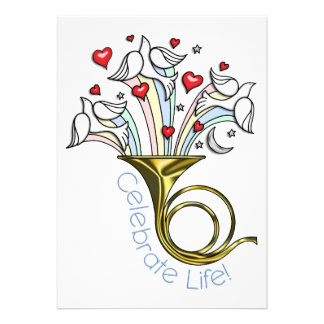 Gold French Horn Doves Hearts Celebrate Life Personalized Invitations