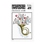 Gold French Horn, Doves, Hearts, Celebrate Life Postage Stamp