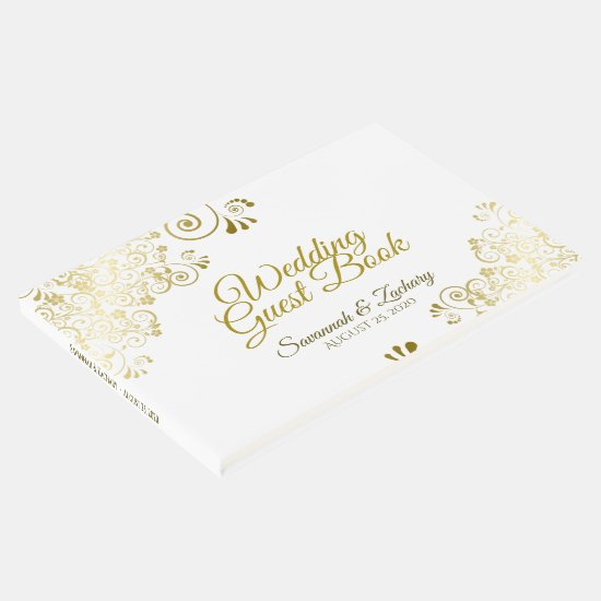 Gold Frilly Filigree Elegant Wedding Guest Book