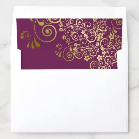 Gold Frilly Floral Filigree Cassis Purple Wedding Envelope Liner