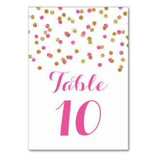 Gold Fuchsia Confetti Wedding Table Number Cards