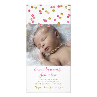 Gold Fuchsia Thank You Baby Shower Photo Cards
