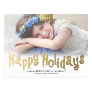 Gold Fun Happy Holidays Photo Modern Postcard
