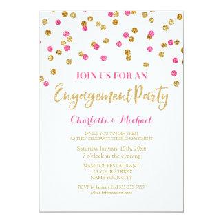 Gold Fuschsia Confetti Engagement Party Invitation