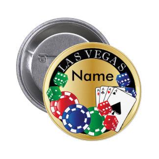 Gold Gambler Las Vegas - Dice, Cards, Poker Chips Pinback Button