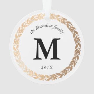 Gold Garland Elegant Photo and Monogram White Ornament