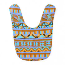 Gold Geometric Abstract Aztec Tribal Print Pattern Baby Bib