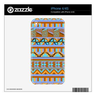 Gold Geometric Abstract Aztec Tribal Print Pattern iPhone 4S Skin