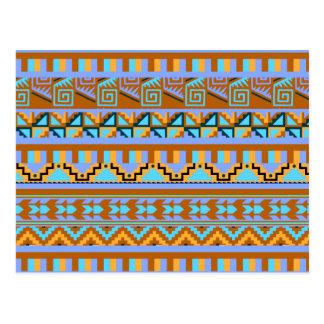 Gold Geometric Abstract Aztec Tribal Print Pattern Postcard
