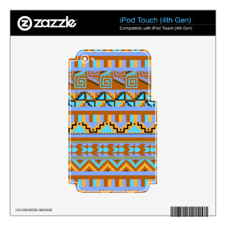 Gold Geometric Abstract Aztec Tribal Print Pattern Skins For iPod Touch 4G