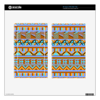 Gold Geometric Abstract Aztec Tribal Print Pattern Skins For Kindle Fire