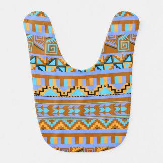 Gold Geometric Abstract Aztec Tribal Print Pattern Baby Bib