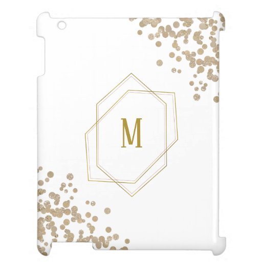Gold Geometric and Glitter Monogram Case For The iPad
