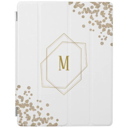 Gold Geometric and Glitter Monogram iPad Smart Cover