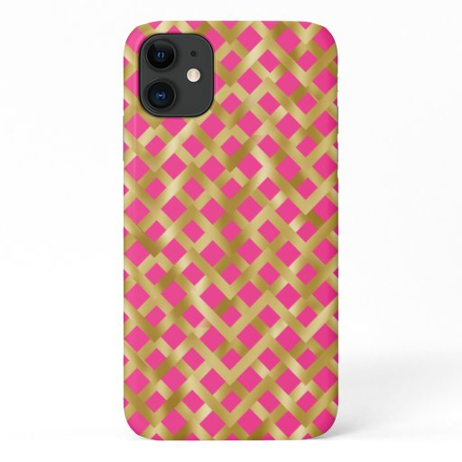 Gold geometric basket weave pattern on hot pink iPhone 11 case