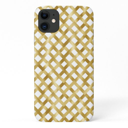 Gold geometric basket weave pattern on white iPhone 11 case