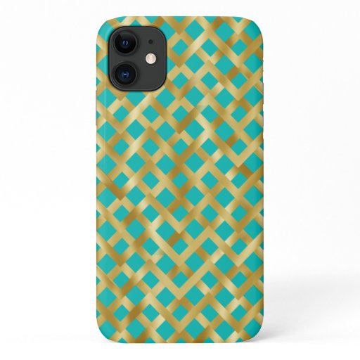 Gold geometric basket weave pattern Tiffany blue iPhone 11 Case