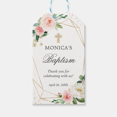 Gold Geometric Blush Floral Baptism & Christening Gift Tags