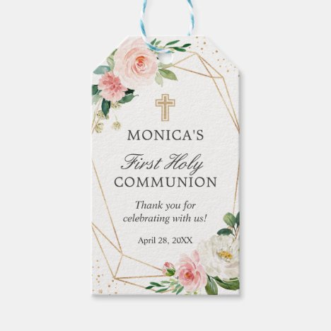 Gold Geometric Blush Floral First Holy Communion Gift Tags