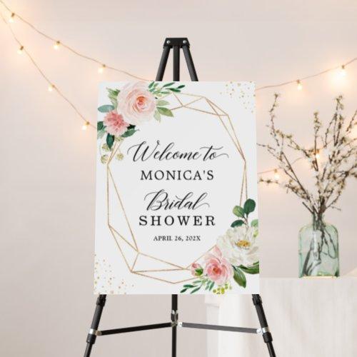 Gold Geometric Blush Pink Floral Bridal Shower Foam Board