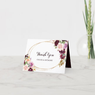 Gold Geometric Burgundy Floral Thank You Card