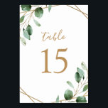 """Gold Geometric Eucalyptus Greenery Wedding Table Number<br><div class=""""desc"""">Designed to coordinate with our Moody Greenery wedding collection, this customizable Table Numbers Card features watercolor sage green eucalyptus leaves accented with a gold geometric frame and paired with a stylish script and classy serif font in gold. To make advanced changes, go to """"Click to customize further"""" option under Personalize...</div>"""