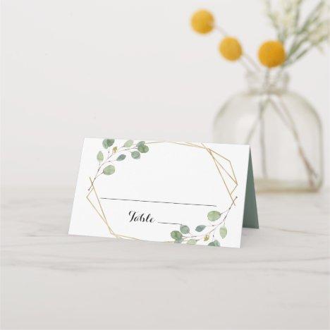 Gold Geometric Eucalyptus Wedding Place Card
