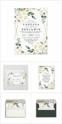 Gold Geometric Floral Greenery Wedding Invitations