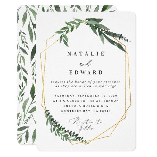 Gold Geometric Frame Leafy Wedding Invitation