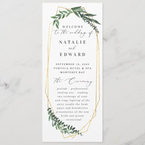 Gold geometric frame leafy wedding program
