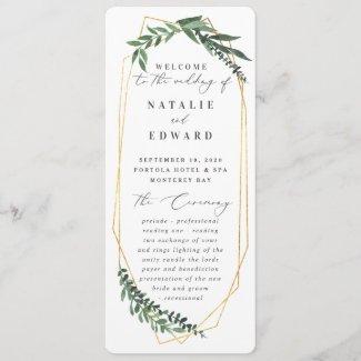 Gold geometric frame leafy wedding program