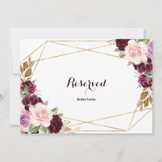 Gold Geometric Green Burgundy Floral Reserved Sign