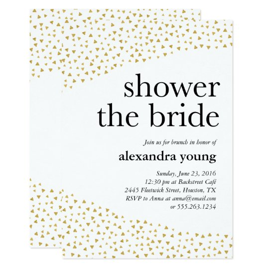 Gold Geometric Modern Bridal Shower Invitations