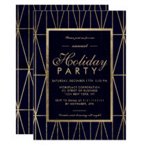 Gold geometric navy blue winter corporate holiday invitation