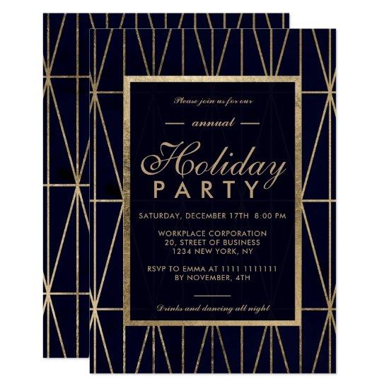 Gold geometric navy blue winter corporate holiday invitation