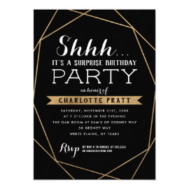 Gold Geometric Shh Surprise Birthday Party Invitation