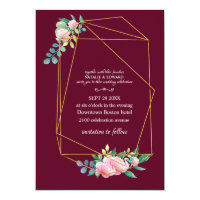 Gold Geometric Summer Burgundy Elegant Wedding Invitation