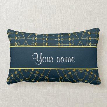 Aztec Themed Gold Geometric Tribal Arrows Pattern Lumbar Pillow