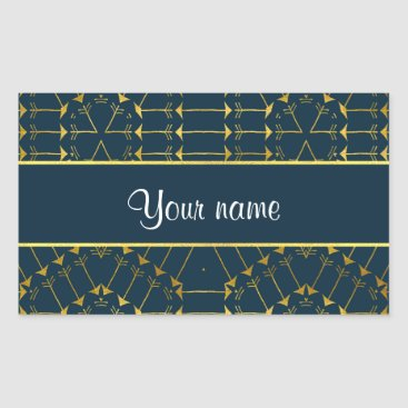 Aztec Themed Gold Geometric Tribal Arrows Pattern Rectangular Sticker