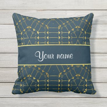 Aztec Themed Gold Geometric Tribal Arrows Pattern Throw Pillow