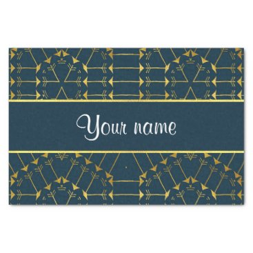 Aztec Themed Gold Geometric Tribal Arrows Pattern Tissue Paper