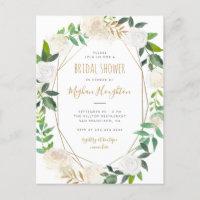 Gold Geometric Watercolor Floral Bridal Shower Invitation Postcard