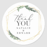 """Gold geometric watercolor leaves wedding stickers<br><div class=""""desc"""">Gold geometric watercolor leaves wedding stickers. With beautiful watercolor leaves and modern graphic gold effect geometric shapes. Part of a wedding suite</div>"""