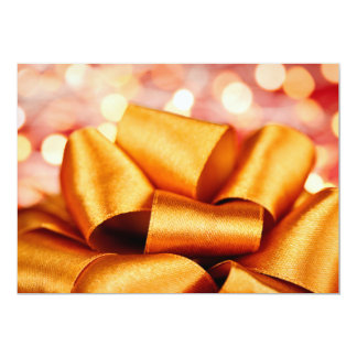 Gold gift bow with festive lights personalized invitation