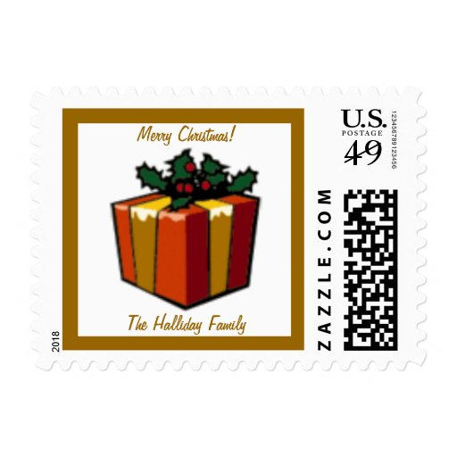 Gold Gift Present Christmas Winter Postage Stamp