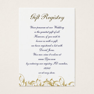 gold Gift registry  Cards