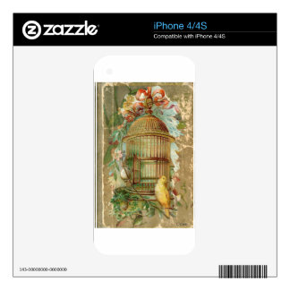 Gold Gilded Victorian Bird Cage Skin For iPhone 4