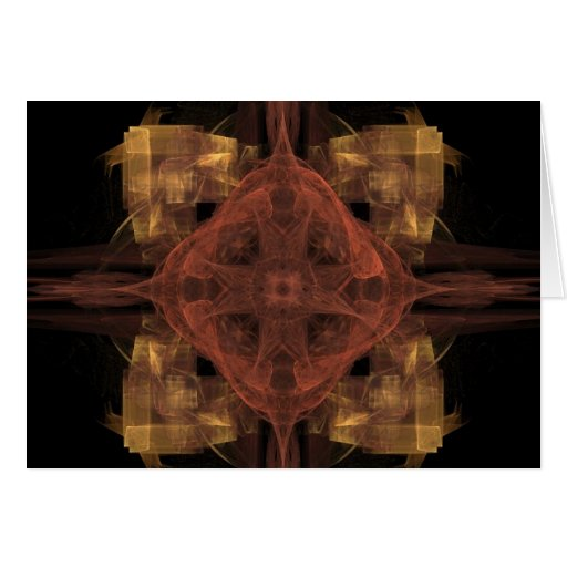 Gold Gingham with Red Medallion Fractal Art Greeting Cards